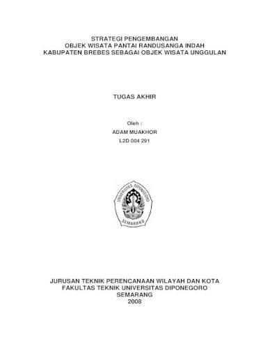 Strategi Pengembangan Objek Wisata Pantai Randusanga Indah Pdf Document