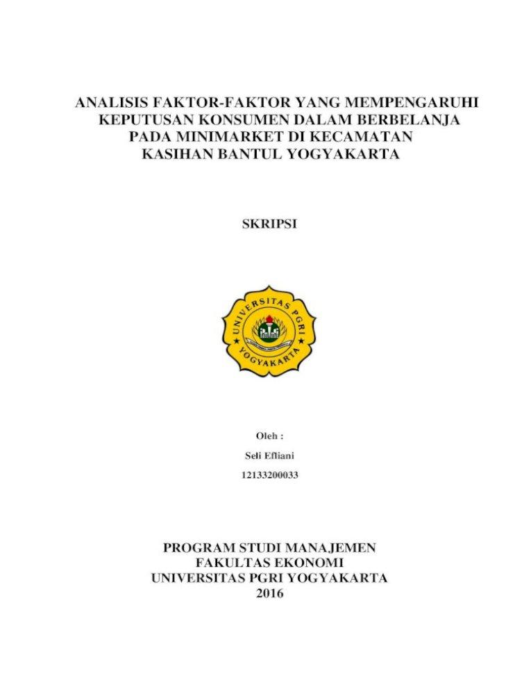 Analisis Faktor Faktor Yang Mempengaruhi Keputusan Analisis Faktor Faktor Yang Mempengaruhi Keputusan Konsumen Dalam Berbelanja Pada Minimarket Di Kecamatan Kasihan Bantul Yogyakarta Pdf Document