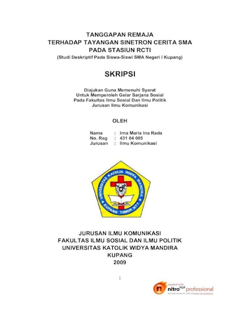 Skripsi Fakultas Ilmu Sosial Dan Ilmu Politik Jurusan Ilmu Komunikasi Oleh Skripsi Ini Telah Diuji Pdf Document