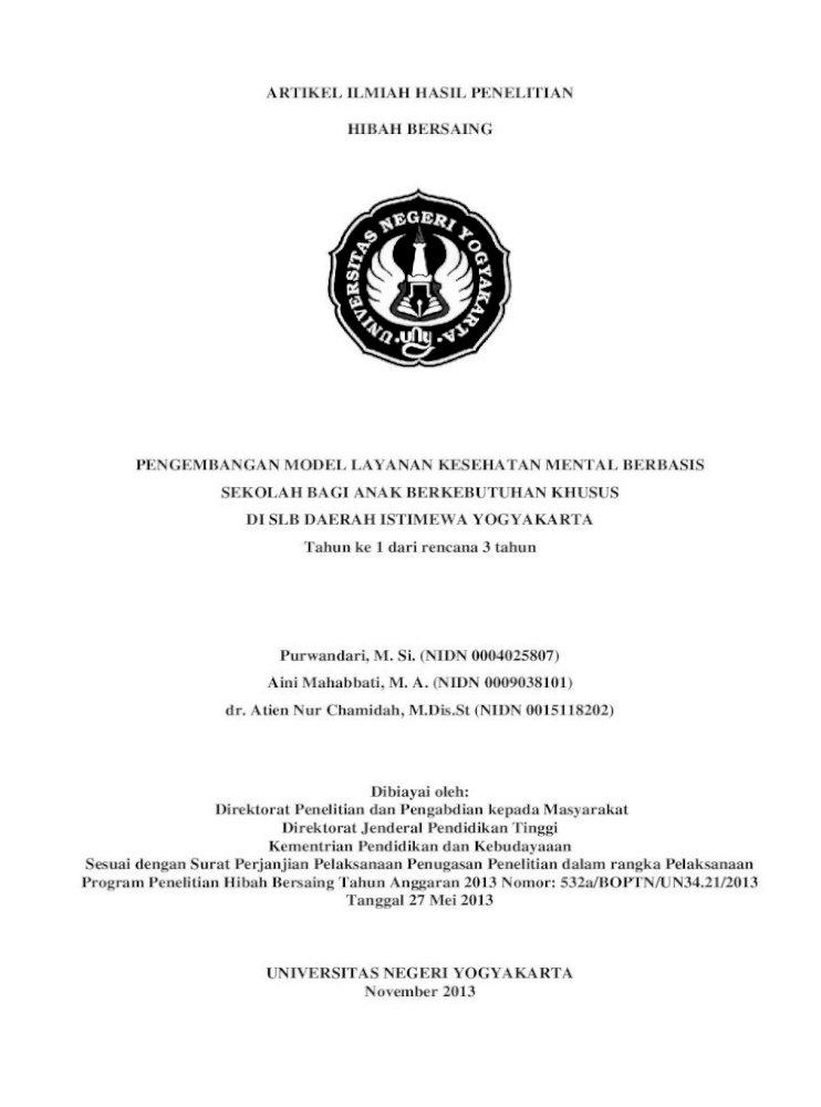 Artikel Ilmiah Hasil Penelitian Hibah Bersaing Sebagai Contoh Tonge Dkk Gangguan Psikiatri Pdf Document