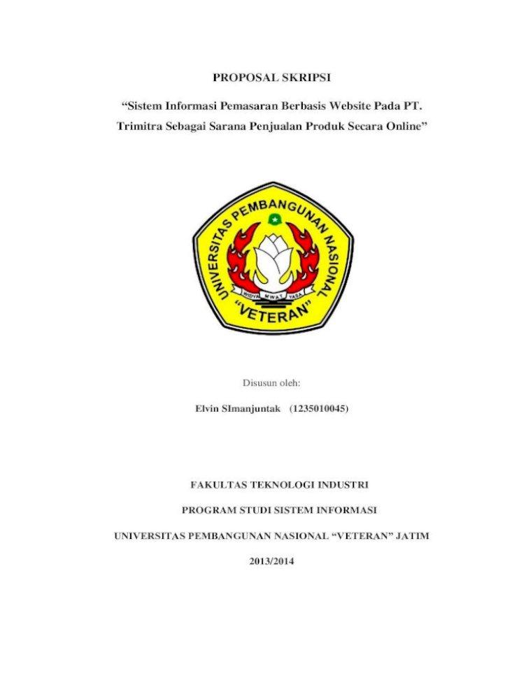 Proposal Skripsi Sistem Informasi Pemasaran Berbasis Proposal Skripsi Sistem Informasi Pemasaran Pdf Document