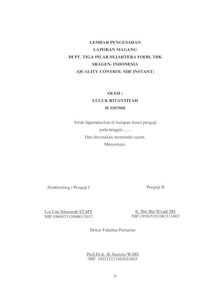 Laporan Magang Di Pt Tiga Pilar Sejahtera Food Ii Lembar Pengesahan Laporan Magang Di Pt Tiga Pdf Document