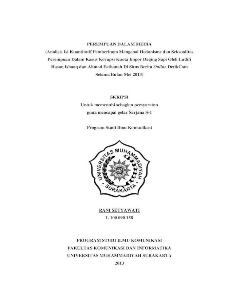 Perempuan Dalam Media Analisis Isi Kuantitatif Ii Halaman Persetujuan Skripsi Perempuan Dalam Media Pdf Document