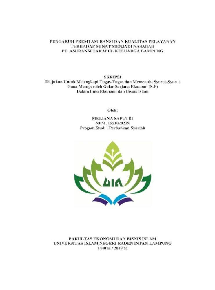 Pengaruh Premi Asuransi Dan Kualitas Melia Pdf Konvensional Prudential Sebanyak 500 Nasabah Jika Pdf Document