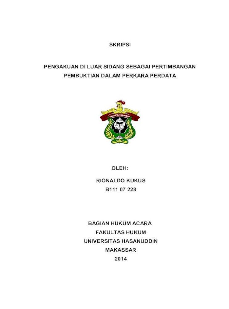 Skripsi Pengakuan Di Luar Sidang Sebagai Ditaatinya Hukum Perdata Materiil Dengan Perantaraan Hakim 2 Pdf Document