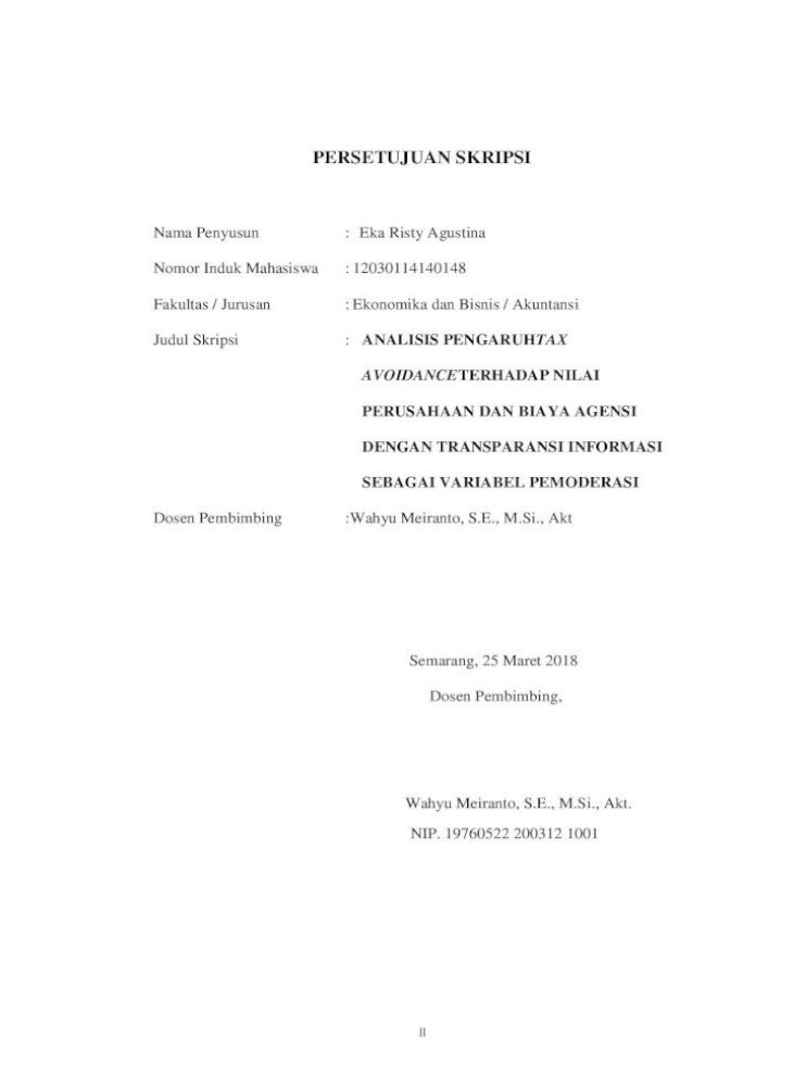 Analisis Pengaruh Tax Avoidance Terhadap Nilai Terhadap Nilai Perusahaan Dan Biaya Agensi Dengan Pdf Document