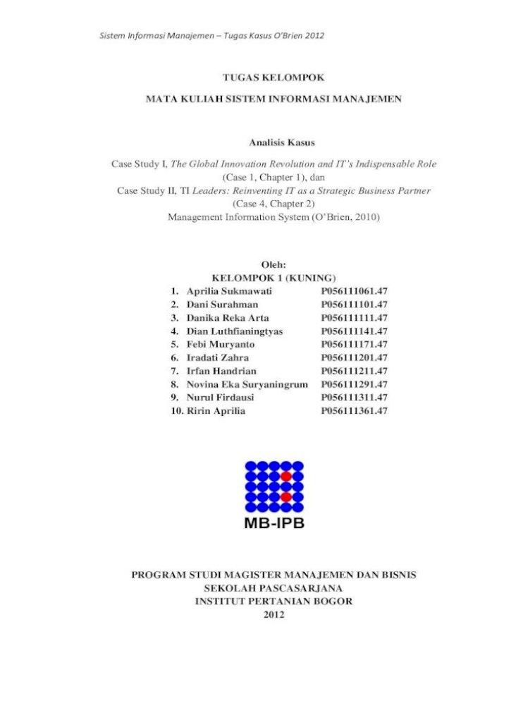 Tugas Kelompok Mata Kuliah Sistem Informasi Informasi Manajemen Tugas Kasus O Direktur Eksekutif Akan Membuat Cio Mereka Bertanggung Jawab Untuk Sistem Akuntansi Keuangan Pdf Document