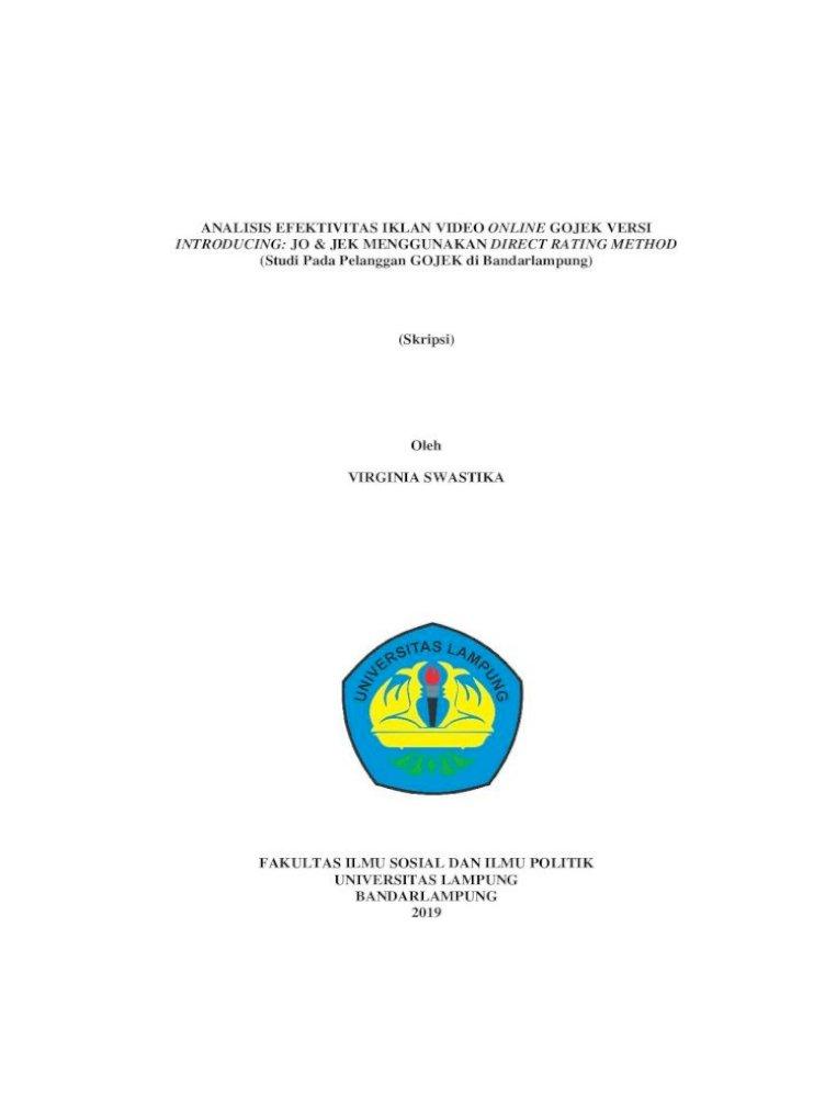 Analisis Efektivitas Iklan Video Online Gojek Versi Skripsi Full Tanpa Bab آ Analisis Pdf Document