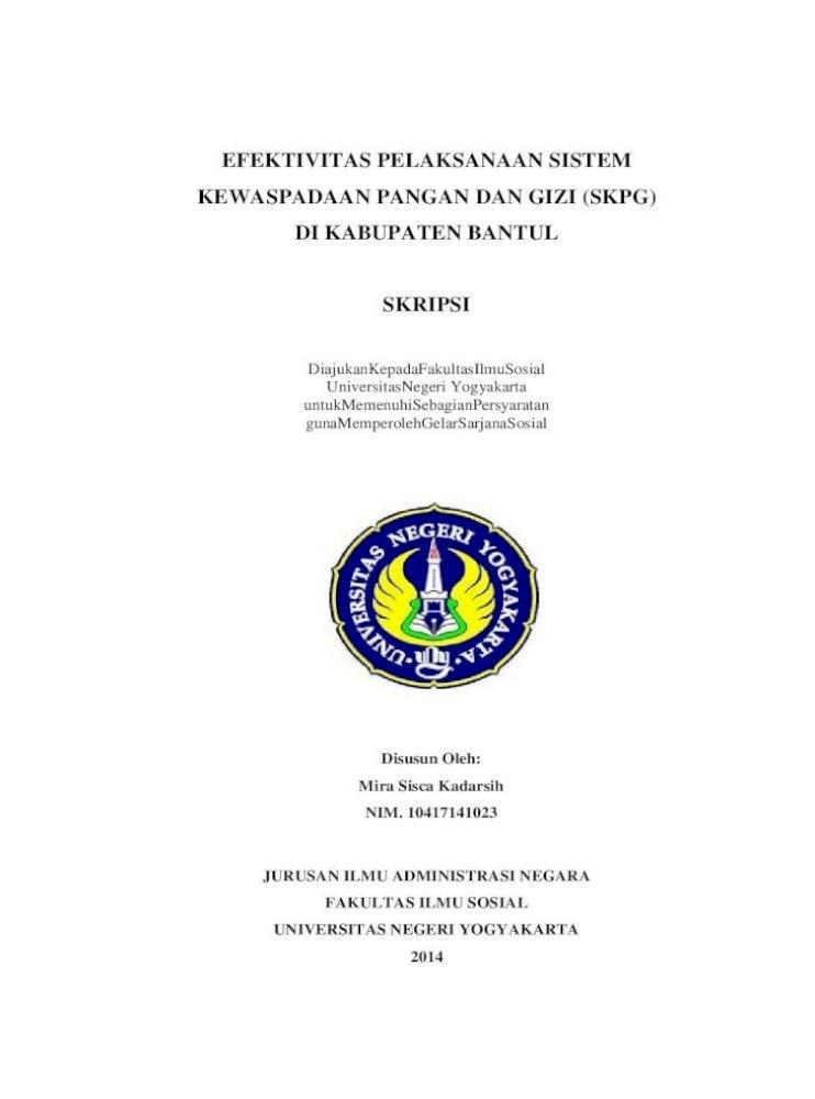 Efektivitas Pelaksanaan Sistem Kewaspadaan Pangan Dan Gizi Depan Pdfefektivitas Pelaksanaan Sistem Kewaspadaan Pangan Dan Gizi Skpg Di Kabupaten Bantul Skripsi Diajukankepadafakultasilmusosial Pdf Document