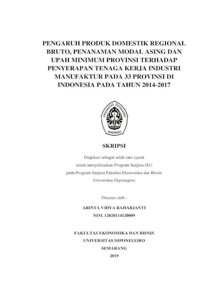 Pengaruh Produk Domestik Regional Bruto Jurusan Ekonomika Dan Bisnis Ilmu Ekonomi Dan Studi Pembangunan Pdf Document