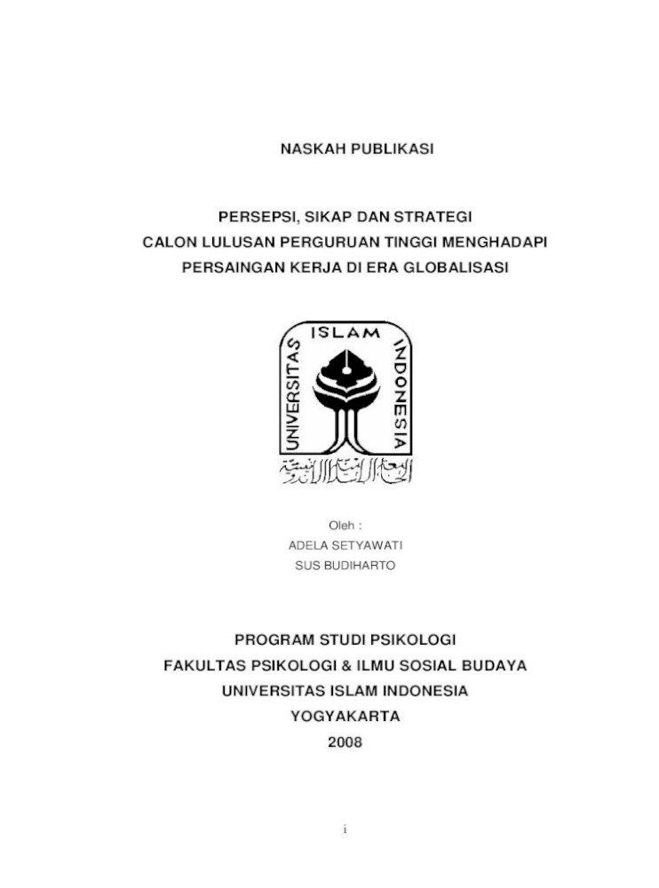 Naskah Publikasi Persepsi Sikap Dan Strategi Penemuan Di Bidang Teknologi Terutama Komputerisasi Pdf Document