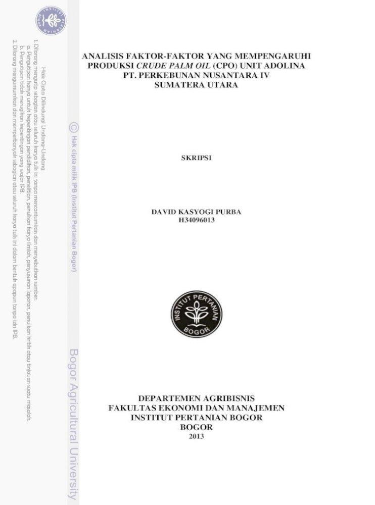 Analisis Faktor Faktor Yang Mempengaruhi X Analisis Faktor Faktor Yang Mempengaruhi Produksi Crude Pdf Document