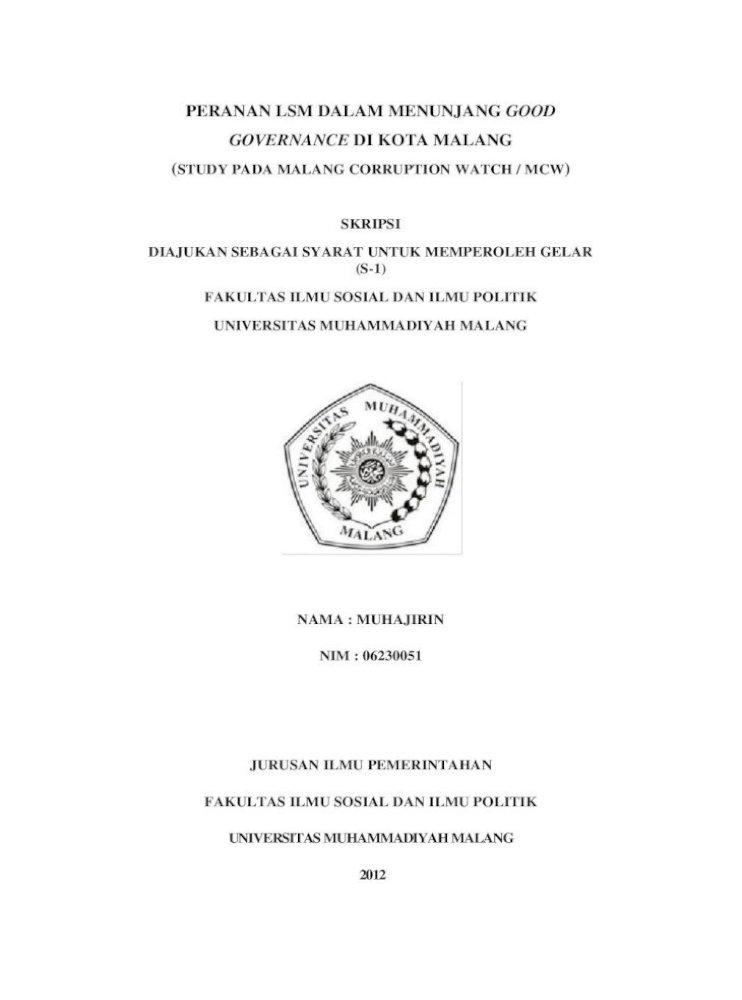 Peranan Lsm Dalam Menunjang Good Governance Dapat Mneyelesaikan Skripsi Ini Dengan Judul C 7 3 Pdf Document