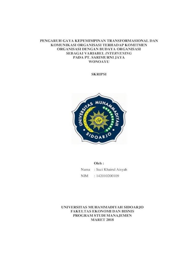 Pengaruh Gaya Kepemimpinan Transformasional Lengkap Kesempatan Dialog Dan Diskusi Pdf Document