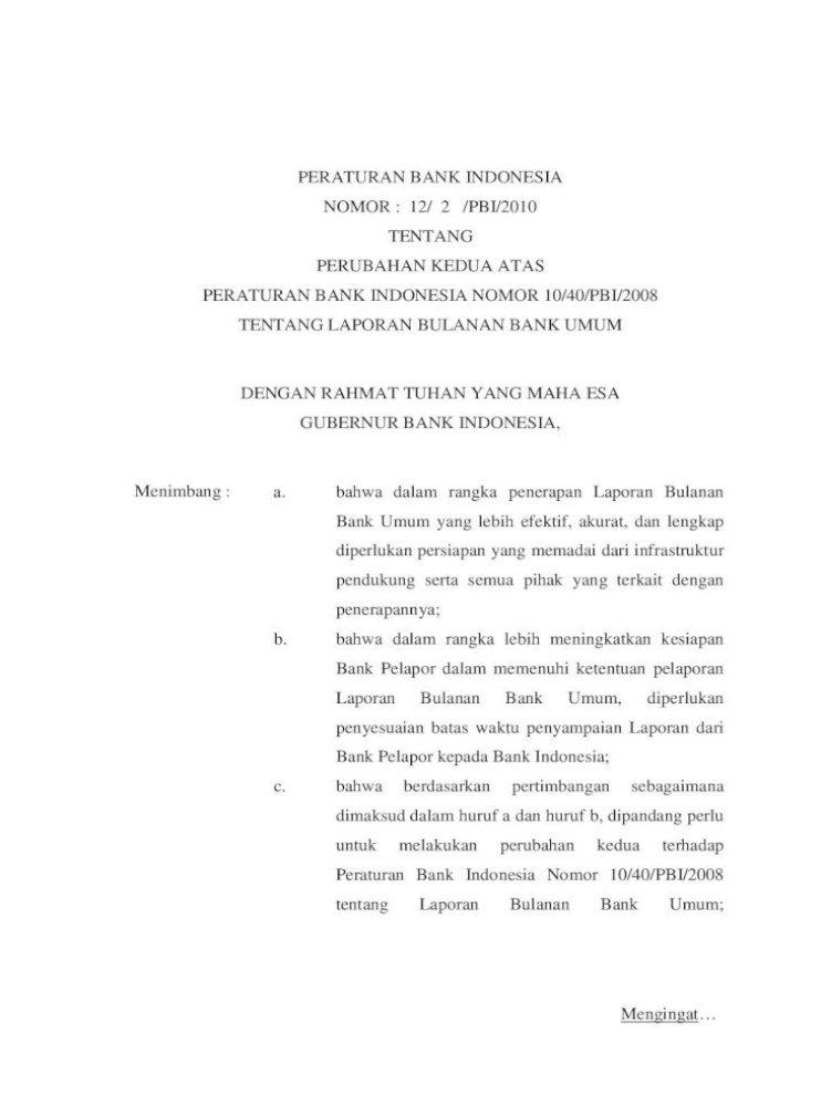 Peraturan Bank Indonesia Tentang Laporan Tentang Laporan Bulanan Bank Umum Per Laporan Per Hari Pdf Document