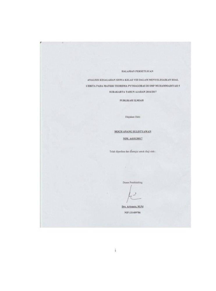 Analisis Kesalahan Siswa Kelas Viii Dalam Kesalahan Siswa Kelas Viii Dalam Menyelesaikan Pdf Document