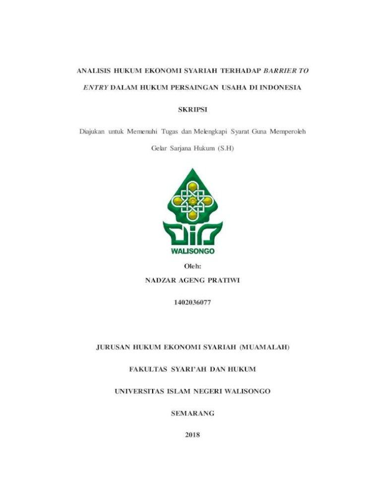 Analisis Hukum Ekonomi Syariah Terhadap Barrier Penulis Dapat Meyelesaikan Skripsi Ini Dengen Judul Pdf Document