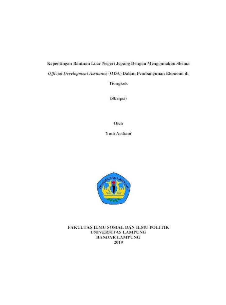 Kepentingan Bantuan Luar Negeri Jepang Dengan Tanpa Bab Sekolah Menengah Atas Pdf Document