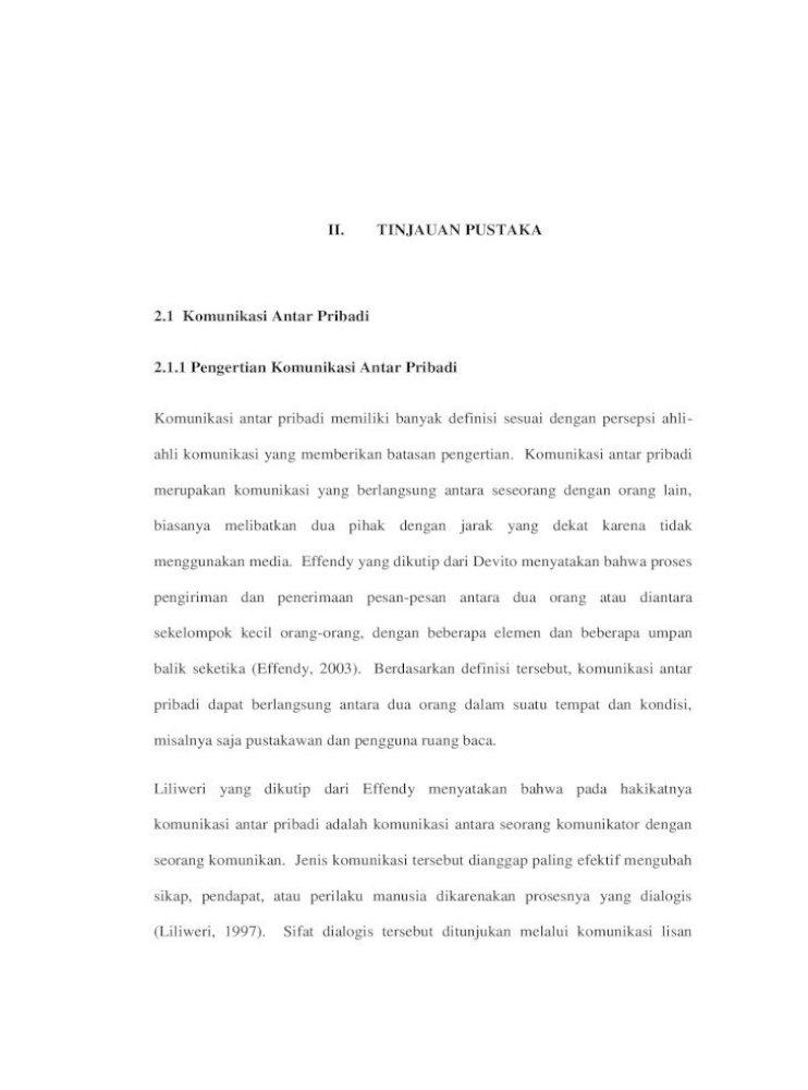 Ii Tinjauan Pustaka Ii Pdf Komunikasi Antar Pribadi Memiliki Banyak Definisi Sesuai Dengan Persepsi Pdf Document