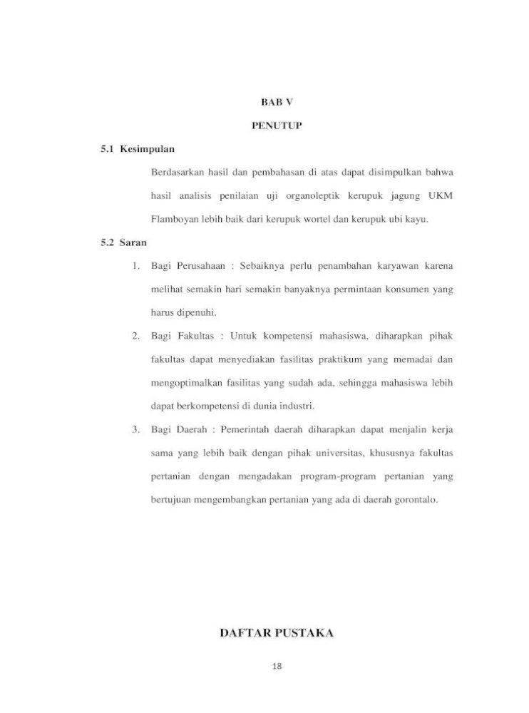 Daftar Pustaka Organoleptik Kerenyahan Dan Rasa Kerupuk Rambak Kulit Kelinci Pada Teknik Buang Buang Pdf Document