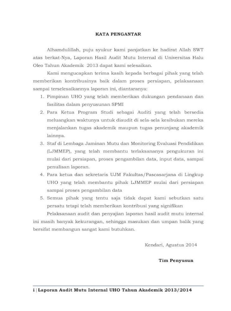 Laporan Hasil Audit Mutu Internal Universitas Hasil Audit Mutu Internal Universitas Halu Oleo Tahun Pdf Document