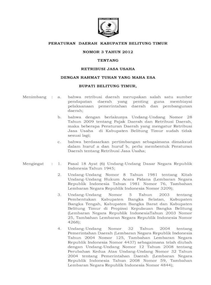 Peraturan Daerah Kabupaten Belitung Timur Nomor 3 Cara Pemberian Dan Pemanfaatan Insentif Pemungutan Pdf Document