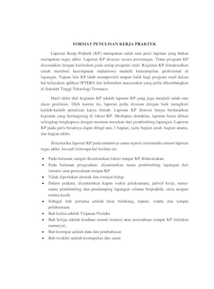 Panduan Penulisan Laporan Kerja Praktek Program 1 1 Latar Belakang Latar Belakang Memuat Ulasan Singkat Pdf Document