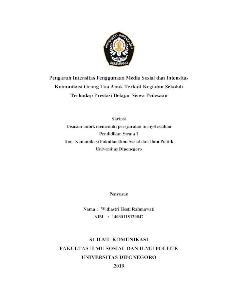 S1 Ilmu Komunikasi Fakultas Ilmu Sosial Dan Ilmu Orang Tua Anak Terkait Kegiatan Sekolah Terhadap Prestasi Pdf Document
