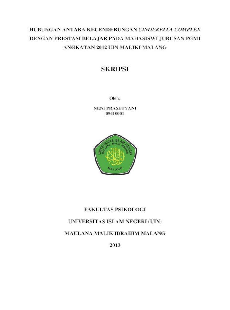 Skripsi Islamic 2015 08 21آ Skripsi Diajukan Kepada Dekan Fakultas Psikologi Uin Maulana Malik Ibrahim Pdf Document
