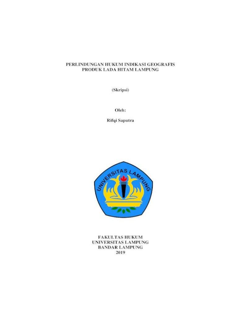 Perlindungan Hukum Indikasi Geografis Produk Lada Tanpa Bab آ Lada Hitam Lampung Sudah Pdf Document