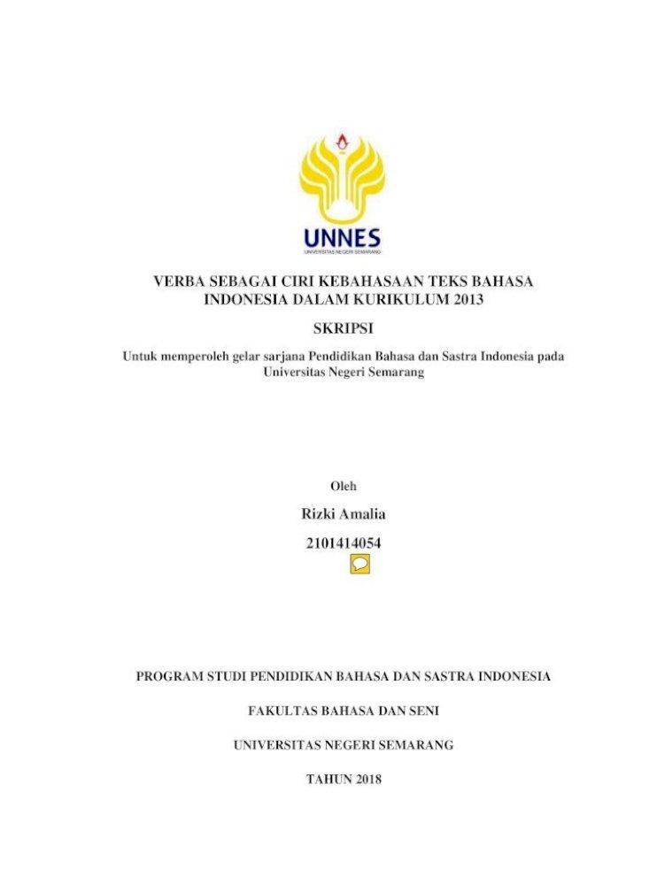 Verba Sebagai Ciri Kebahasaan Teks Bahasa Indonesia Lib Unnes Ac Id 33744 1 2101414054 آ Puji Syukur Pdf Document