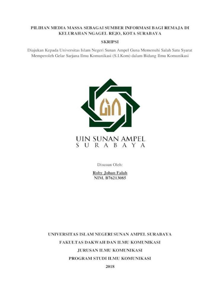 Pilihan Media Massa Sebagai Sumber Informasi Bagi Johan Falah آ Pilihan Media Massa Sebagai Pdf Document