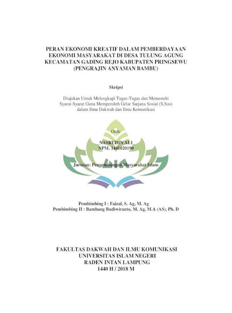 Peran Ekonomi Kreatif Dalam Pemberdayaan Nasrudin Ali Pdf Fungsi Peran Sendiri Adalah Untuk Memberikan Pdf Document
