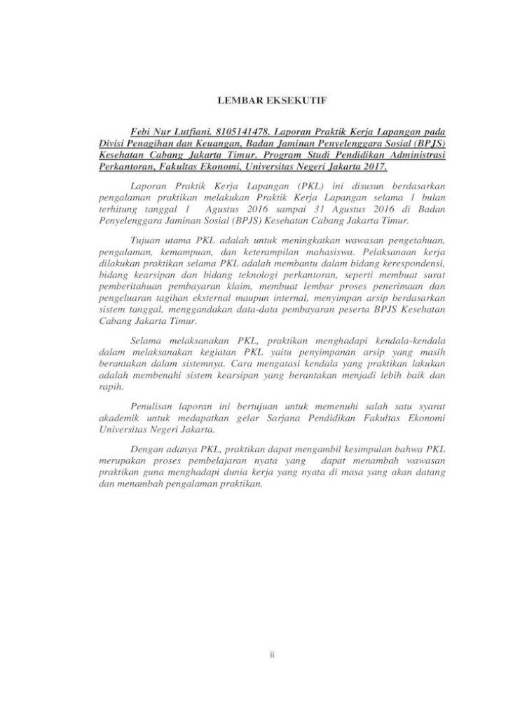 Laporan Praktik Kerja Lapangan Pada Badan Febi Nur Lutfiani 4 Untuk Kedua Orang Tua Pdf Document