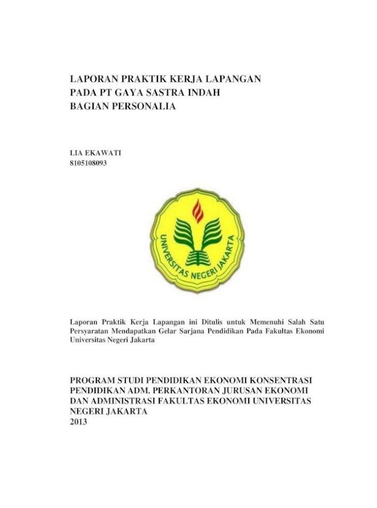 Laporan Praktik Kerja Lapangan Pada Pt Ekawati 8105108093 Pdf Pusat Pt Gaya Sastra Indah Laporan Pdf Document