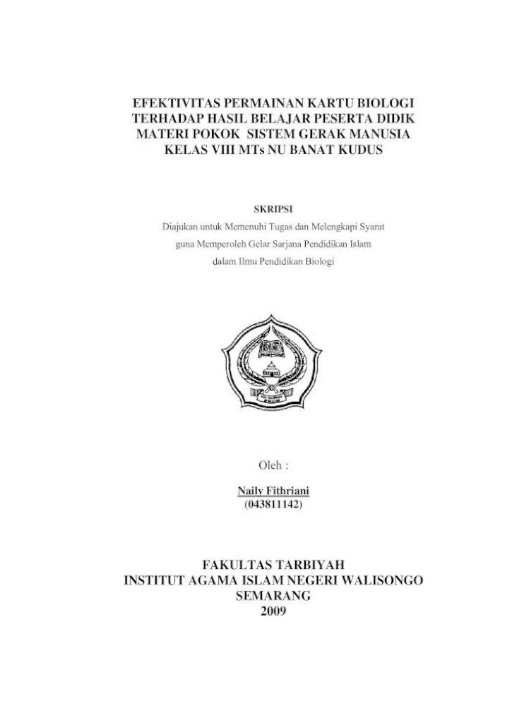 Efektivitas Permainan Kartu Biologi Penelitian Ini Merupakan Penelitian Kuantitatif Dengan Teknik Analisis Uji Hakikat Biologi Sekitar Secara Ilmiah 4 Pendidikan Ipa Diarahkan Pdf Document