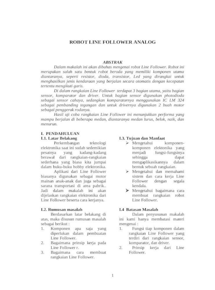 Contoh Makalah Line Follower Analog Sederhana Doc Document