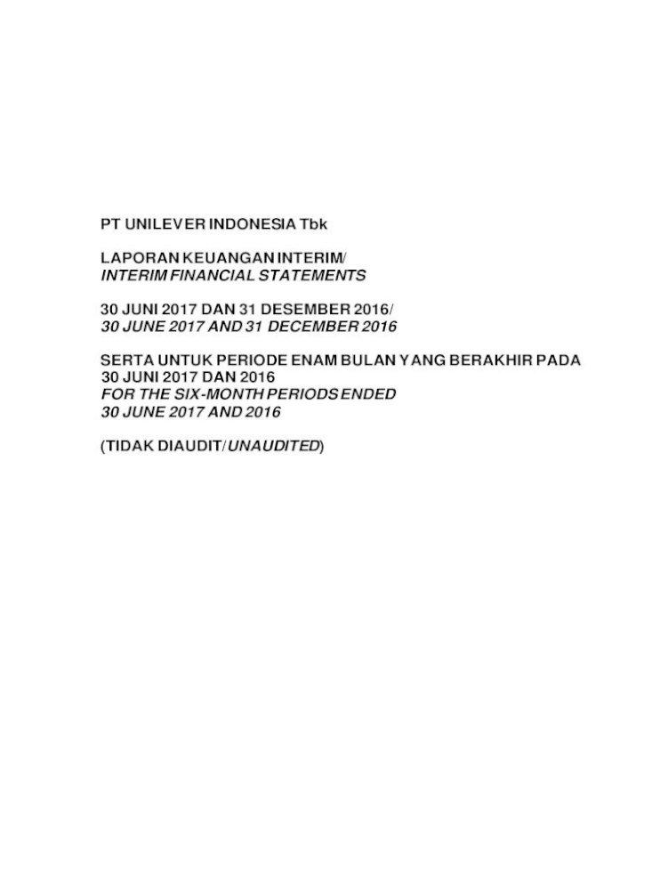 Laporan Keuangan Pt Unilever Indonesia Tbk Pt Unilever Indonesia Tbk Laporan Keuangan Interim Interim Pdf Document